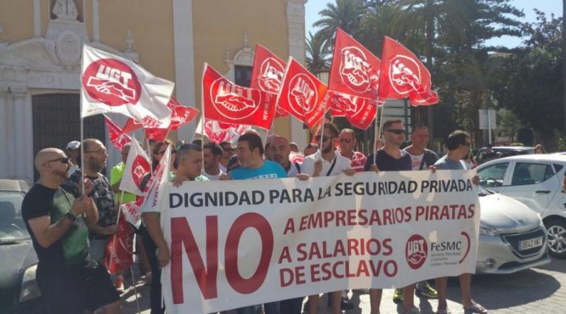Los vigilantes de la empresa Marsegur trasladan la protesta a la Comandancia General